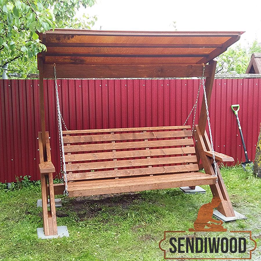 деревянные качели Сенди Л ПК8 цвет орех с зимней крышей