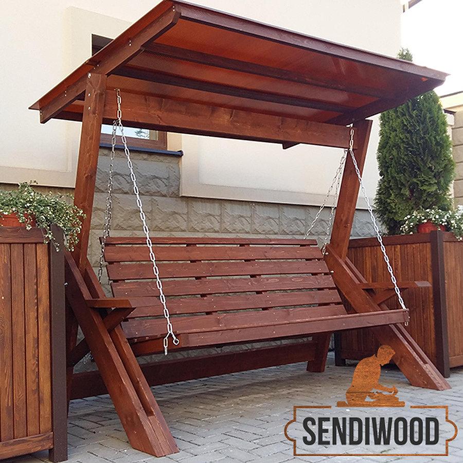 деревянные качели Сенди Л масло-воск орех с зимней крышей из поликарбоната по цене 20000 руб.