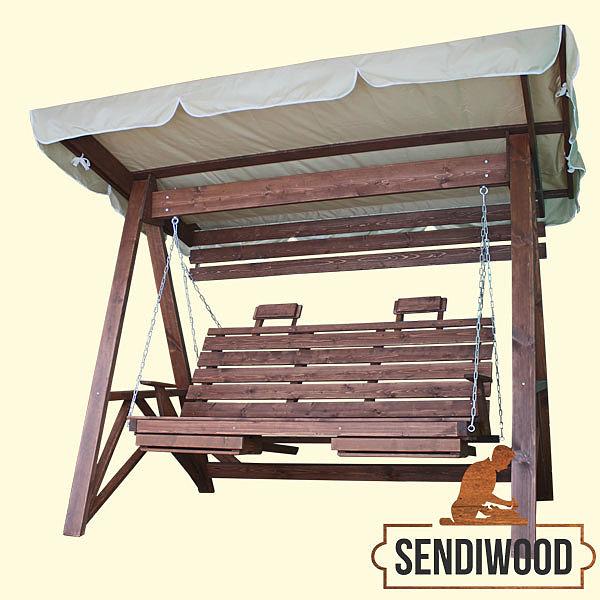 Деревянные качели Сенди А с тентом в полной комплектации