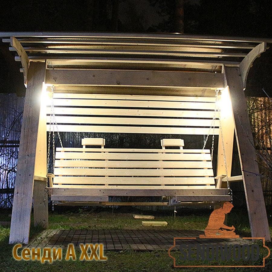 Деревянные качели Сенди А XXL с лавкой 2 метра и дополнительными аксессуарами